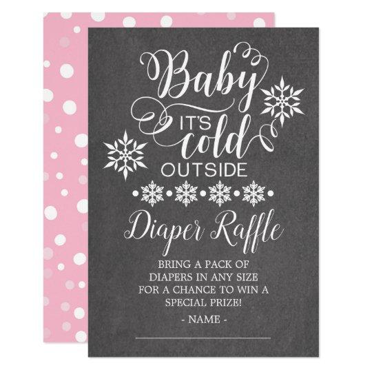 Chalkboard Baby It's Cold Outside Diaper Raffle Card