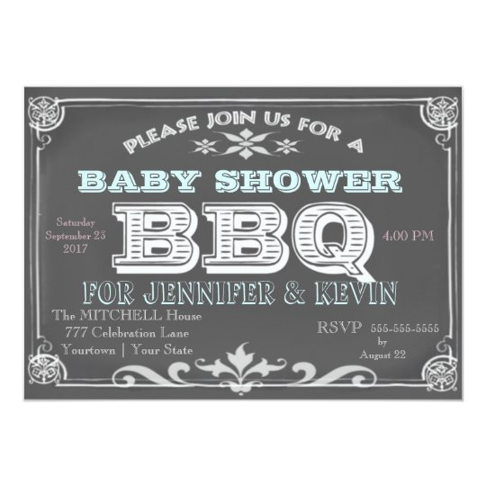 Chalkboard Baby Shower BBQ Invitations