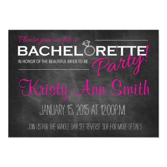 Chalkboard Bachelorette Party Invitation