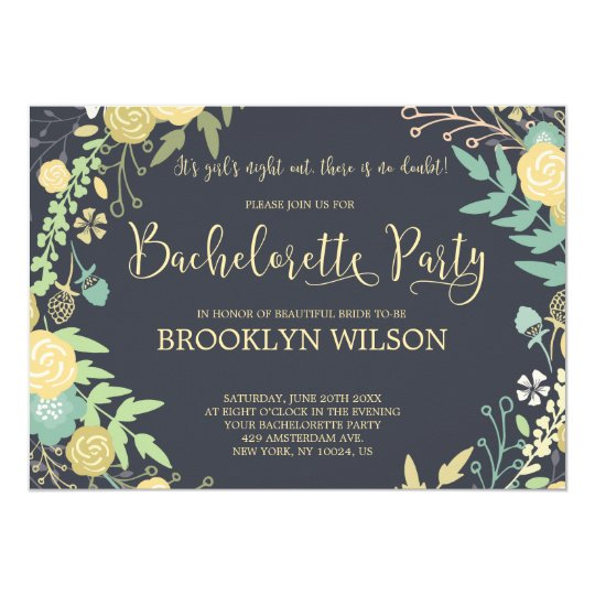 Chalkboard Bachelorette Party Invitations Wreath