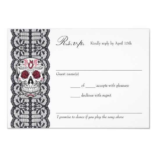 Chalkboard Background Lace Sugar Skull RSVP cards