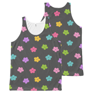Chalkboard Background with Flowers All-Over-Print Tank Top