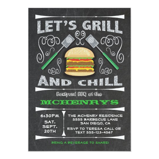 Chalkboard backyard barbecue BBQ party invitations