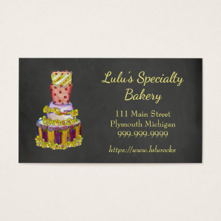 Chalkboard Bakery Business Card with Fancy Cake