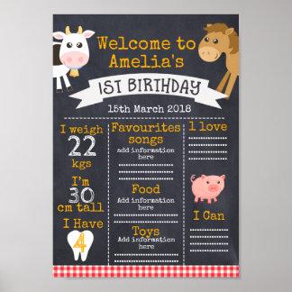 Chalkboard Barnyard Milestones 1st Birthday Poster