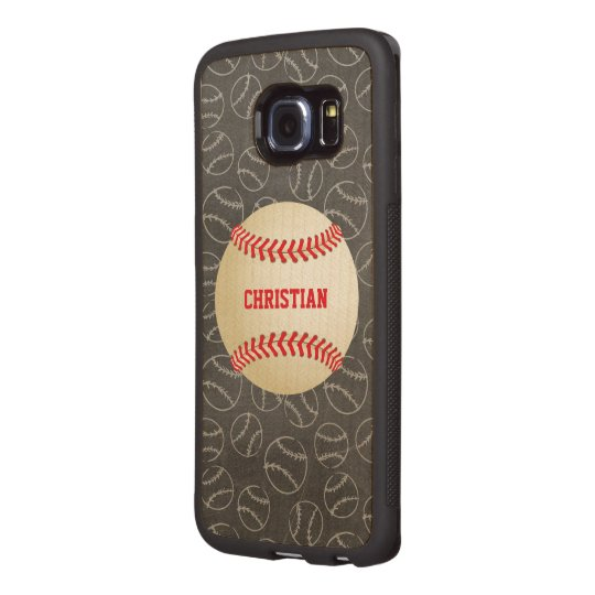 Chalkboard Baseball Pattern with Name and Baseball Wood Phone Case