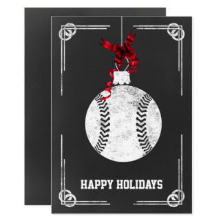 chalkboard baseball player Christmas Cards