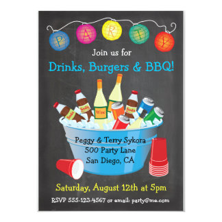 Chalkboard BBQ Party Drinks Invitations