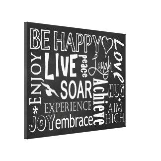 CHALKBOARD - BE HAPPY - TYPOGRAPHY CANVAS ART