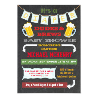 Chalkboard Beer and Diaper Party Invitations