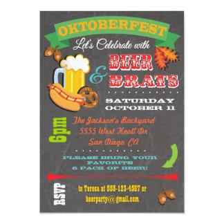Chalkboard Beer, Brats Octoberfest Party Invites