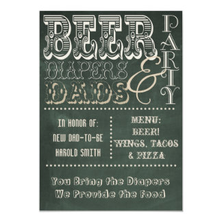 Chalkboard Beer Diapers and Dads Baby Shower Card