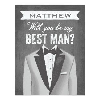 "Chalkboard Best Man | Groomsman 4.25"" X 5.5"" Invitation Card"