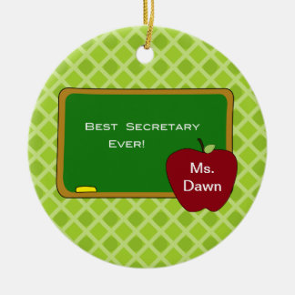 Chalkboard Best Secretary Christmas Ornament