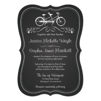 Chalkboard Bicycle for Two Wedding Invitations