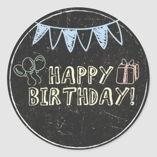 Chalkboard Birthday Stickers