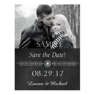 Chalkboard Black and White Save the Date Postcard