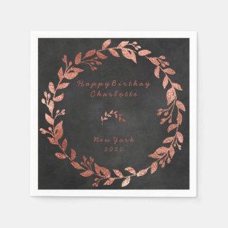 Chalkboard Black Rose Pink Gold Birthday Paper Napkin