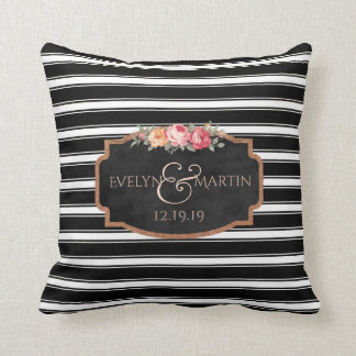 Chalkboard Black Stripes Monogram Wedding Keepsake Throw Pillow