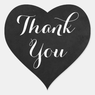 Chalkboard Black & White Thank You Wedding Heart Heart Sticker