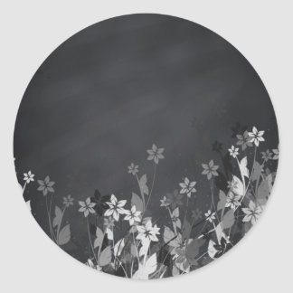 Chalkboard Blank Floral Swirl Customize Text Classic Round Sticker