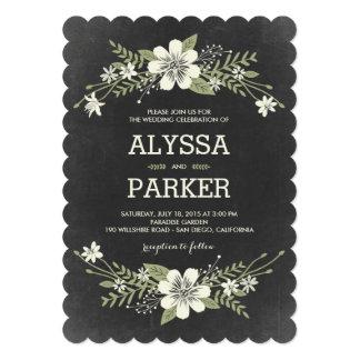 """Chalkboard Blooms Wedding Invitations 5"""" X 7"""" Invitation Card"""