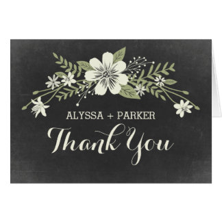 Chalkboard Blooms Wedding Thank You Card