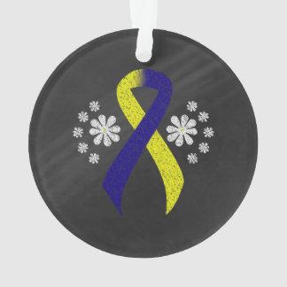 Chalkboard Blue and Yellow Ribbon Ornament