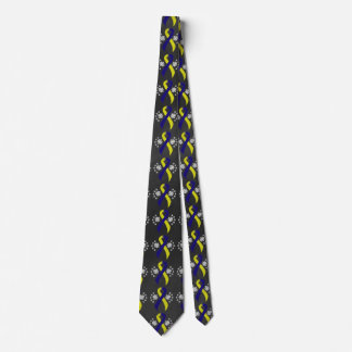 Chalkboard Blue and Yellow Ribbon Tie