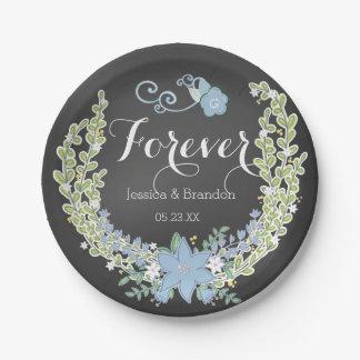 Chalkboard Blue Bells Forever Wedding Paper Plates 7 Inch Paper Plate