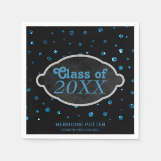 Chalkboard Blue Confetti Dots  | Graduation Party Napkin