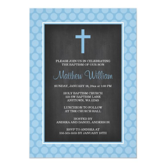 Chalkboard Blue Polka Dot Cross Boy Baptism Card