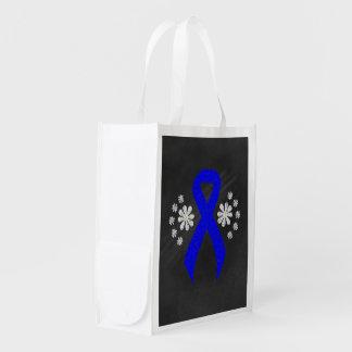 Chalkboard Blue Ribbon Grocery Bags