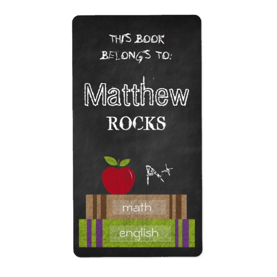 Chalkboard Books This Book Belongs to Apple Label Shipping Label