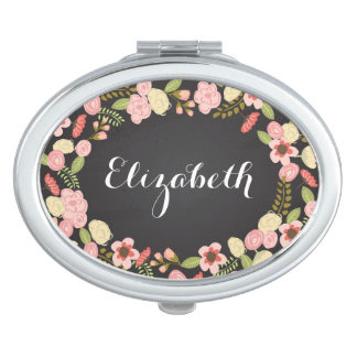 Chalkboard Botanical Personalized Compact Makeup Mirrors