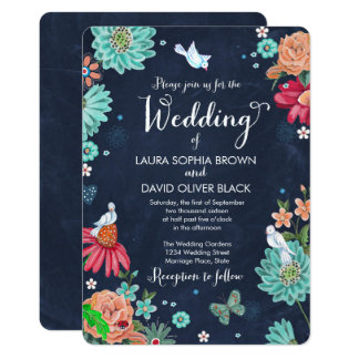 Chalkboard Bouquet Floral | Wedding Invitation