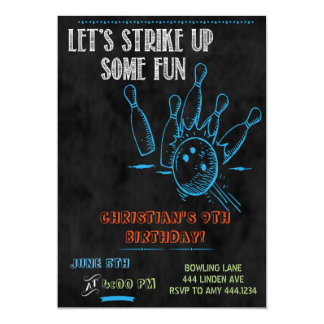 Chalkboard Bowling Party Invitations