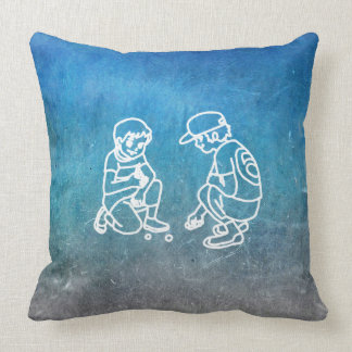 Chalkboard Boy Playing With Marbles Doodles Throw Pillow