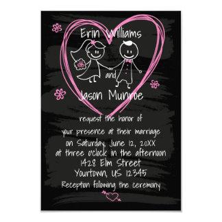 Chalkboard Bride and Groom Wedding Invitation