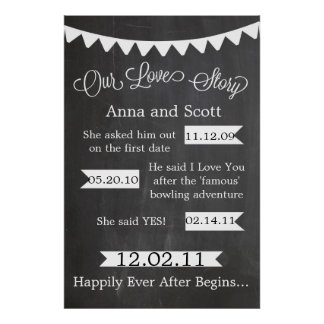 Chalkboard Bunting Our Love Story Sign