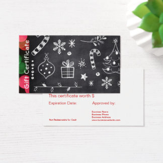 Chalkboard Business Holiday Gift Card Certificates