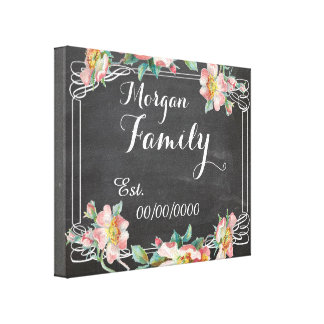 chalkboard canvas,family name,family est. canvas print