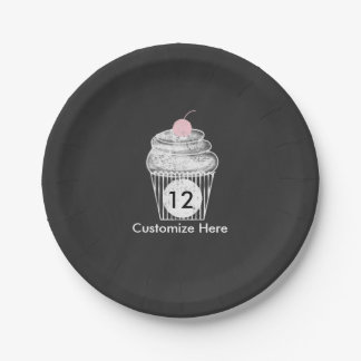 Chalkboard Chalk Cupcake Birthday Party Plates 7 Inch Paper Plate