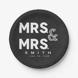 Chalkboard Chalk MR. & MR. Gay Wedding Engagement Paper Plate