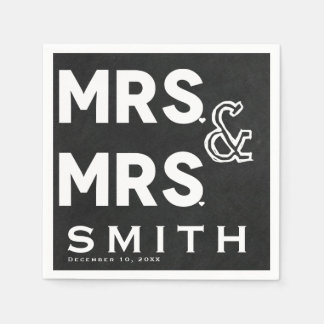 Chalkboard Chalk Mrs. & Mrs. Wedding Engagement Paper Napkins