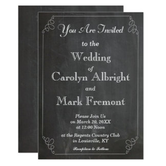 Chalkboard Chalked Typography Vintage Wedding Card
