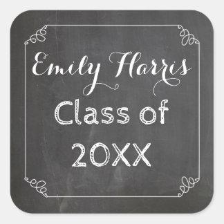 Chalkboard Chalked White Flourish Frame Graduate Square Sticker