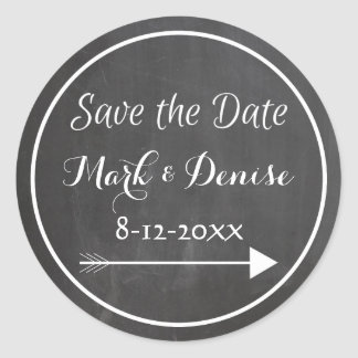 Chalkboard Chalked White Frame Arrow Save the Date Classic Round Sticker