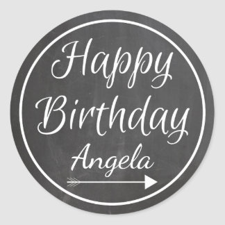 Chalkboard Chalked White Frame Happy Birthday Name Classic Round Sticker