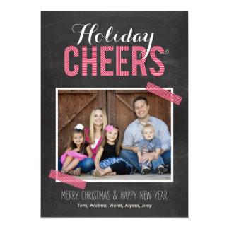 "Chalkboard Cheers Holiday Photo Cards 5"" X 7"" Invitation Card"